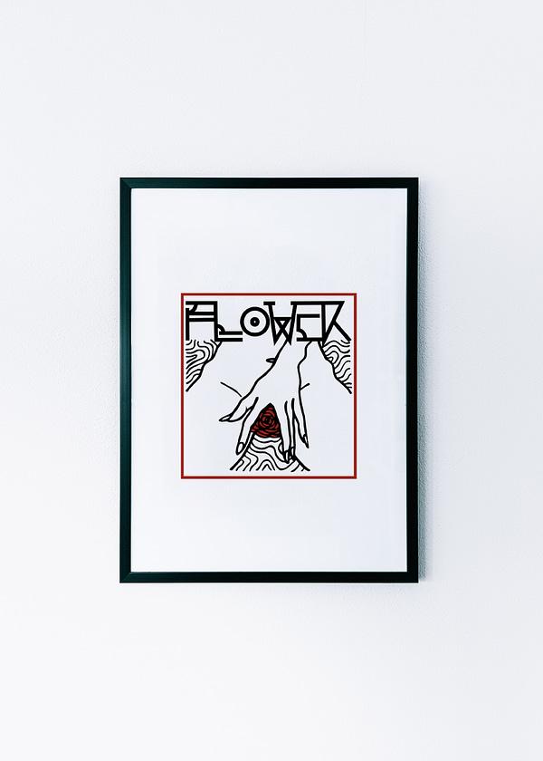 framed print flower
